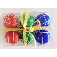 """Набор елочных шаров """"Кружевная зима"""", 6 шт, 6 см, разноцветные матов."""