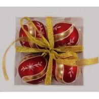"""Набор елочных шаров """"Новогодние узоры"""", 4 шт, 6 см, красные матов"""