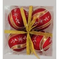 """Набор елочных шаров """"Новогодние узоры"""", 4 шт, 8 см, красные матов"""