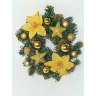 Венок рождественский (золото)  д. 25 см