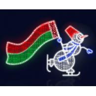 "2D фигура ""Снеговик с флагом"""
