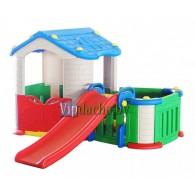 Детский игровой комплекс 3 в 1 большой дом с тамбуром + горка